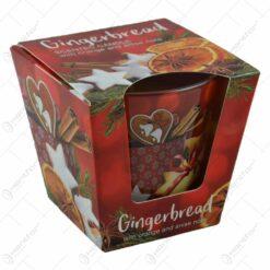 Lumanare parfumata de Craciun in pahar - Gingerbread - cu aroma de Portocale/Anason & Scortisoara/Mere