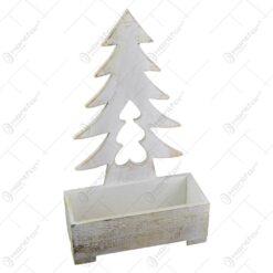 Suport decorativ pentru ghiveci realizat din lemn - Design Craciun cu brad