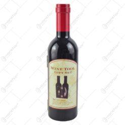 Cutie realizata din plastc in forma de sticla cu 3 accesorii pentru vin - Design Elegant