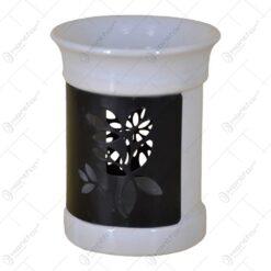 Candela realizata din ceramica si metal cu suport pentru uleiuri parfumate - design Elegant (Tip 1)