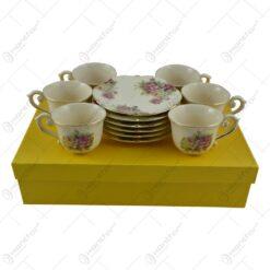 Set pentru cafea realizat din ceramica cu marginile poleite (16 piese) - Design Trandafiri