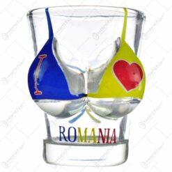 "Pahar tip shot cu model haios - Design cu sutien tricolor si inscriptia ""Romania"""