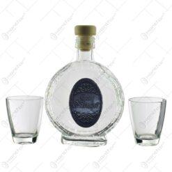 Set plosca mica si pahare de tuica cu maner din sticla. cu decor embosat - Boldog névnapot