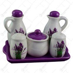 Oliviera 5 piese realizate din ceramica pe tava - Design lavanda