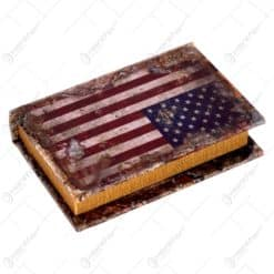 Cutie realizata din lemn in forma de carte - Design Steagul USA (13.5cm)