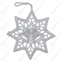 Decoratiune crosetata pentru brad in forma de stea - Design cu clopotel
