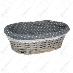 Cos oval realizat din rachita - Gri
