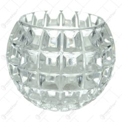 Vaza din sticla in forma de glob cu caracter cristal cu patracele