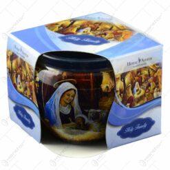 Lumanare parfumata in pahar de Craciun - Holy Family