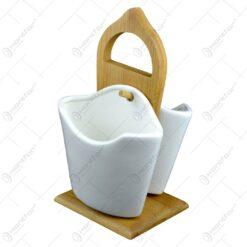 Set 2 boluri din ceramica cu suport din bambus - White