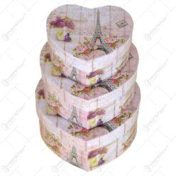 Set 3 cutii in forma de inima pentru cadouri/depozitare - Diverse modele (Model 1)
