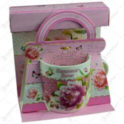 Cana realizata din ceramica in cutie - Design cu trandafiri - Diverse modele (Model 1)