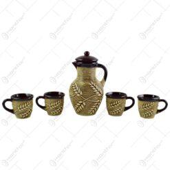 Set pentru servire cafea/ceai - Design traditional cu grau