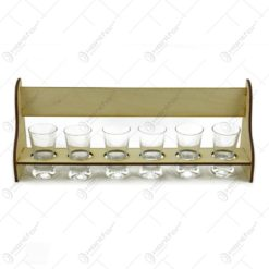 Set de 6 pahare din sticla cu suport din lemn in forma de banca