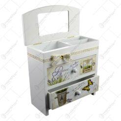 Cutie pentru bijuterii cu 3 sertare. oglinda si 3 compartimente - Lavanda Jardin
