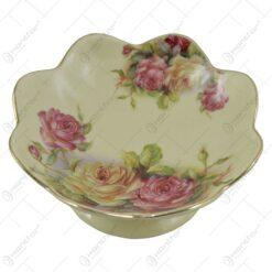 Fructiera realizata din ceramica cu marginile poleite - Design Trandafiri (14cm)