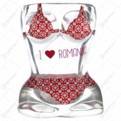"""Pahar tip shot in forma de corp de femeie - Design cu costum de baie si inscriptia """"I love Romania"""""""