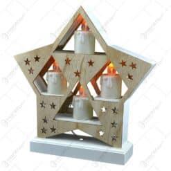 Ornament de craciun - Suport de culoare naturala in forma de stea cu 4 lumanari led albe