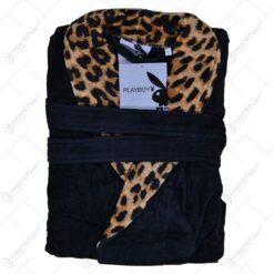 Halat de baie realizat din material plusat - Design leopard
