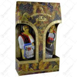 Set doua sticle de vin in forma de barbat si femeie. imbracate in port popular romanesc - Romania