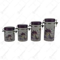 Set recipient condimente din ceramica cu inchidere ermetica - Lavanda Jardin