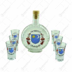 Set 6 pahare de tuica cu sticla. decorate cu motive populare si stema Secuimii - Szekelyfold