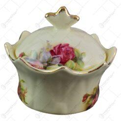 Bomboniera realizata din ceramica cu marginile poleite - Design Trandafiri (13cm)