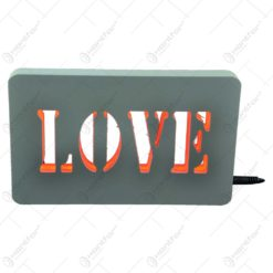 Ornament decorativ realizat din material plastic si dotat cu led - Love (Tip 1)