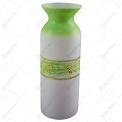 Vaza realizata din sticla - Design alb-verde cu frunze aurii