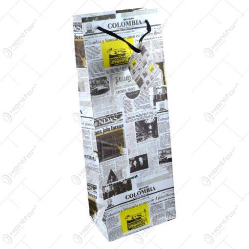 Punga cadou pentru bautura realizata din hartie laminata - Design ziar Colombia