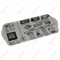 """Tava cu maner pentru servire realizata din plastic - Design inscriptionat """"Breakfast menu"""""""
