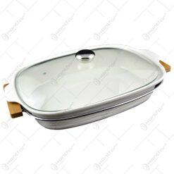 Tava realizata din ceramica cu capac de sticla si suport din inox (Tip 1)