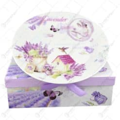 Set 7 farfurii realizate din ceramica in cutie decorativa - Lavanda Casuta