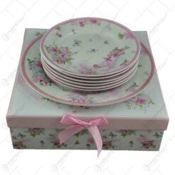 Set serviciu masa cu 7 piese realizate din ceramica - Design floral