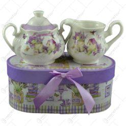 Set zaharnita si cana pentru lapte realizat din ceramica - Lavanda Casuta