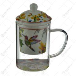 Cana realizata din sticla cu infuzor de ceramica - Design Floral (Model 2)