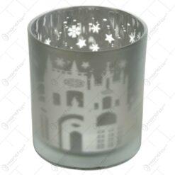 Candela rotunda realizata din sticla - Design cu stelute si fulgi de nea