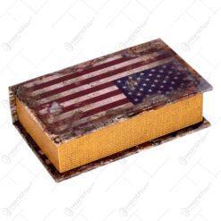 Cutie realizata din lemn in forma de carte - Design Steagul USA (17cm)
