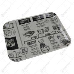 """Tava pentru servire realizata din plastic - Design inscriptionat """"Breakfast menu"""""""