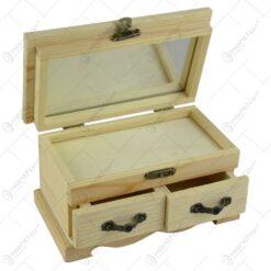 Cutie din lemn natur elegant pentru bijuterii cu 2 sertare. 1 compartiment cu 6 parti si oglinda