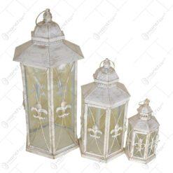 Set 3 felinare Vintage din metal si sticla