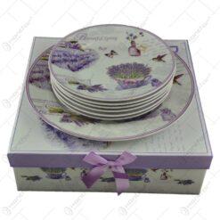 Set serviciu masa cu 7 piese realizate din ceramica - Lavanda Garden