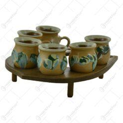 Set 6 cani realizate din ceramica pe un suport in forma de potcoava - Diverse modele