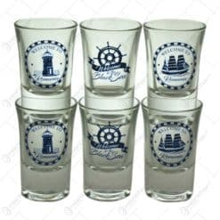 Set 6 pahare realizate din sticla - Design Black Sea