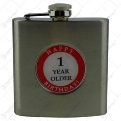 "Plosca realizata din metal decorata cu placuta - Design inscriptionat ""Happy 1 year older birthday"""