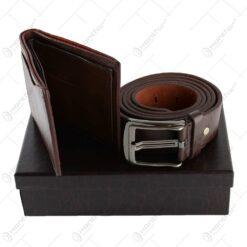Curea si portofel din piele in cutie eleganta - Diferite culori