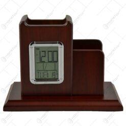 Suport pentru birou cu doua compartimente si ceas electronic