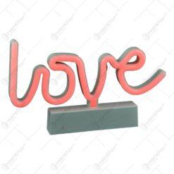Ornament decorativ realizat din material plastic si dotat cu led - Love (Tip 2)