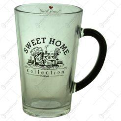 "Cana realizata din sticla - Design inscriptionat ""Sweet Home"" (Model 1)"