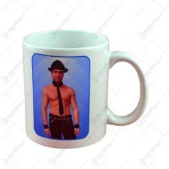 Cana Mug Strip cu imagine de barbat termic in cutie decorativa